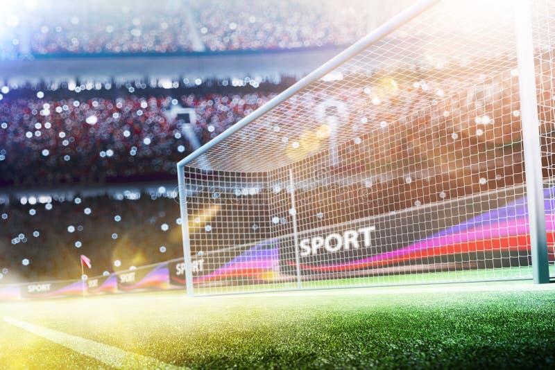 La meta del fútbol del estadio o la meta 3d del fútbol rinde imágenes de archivo libres de regalías