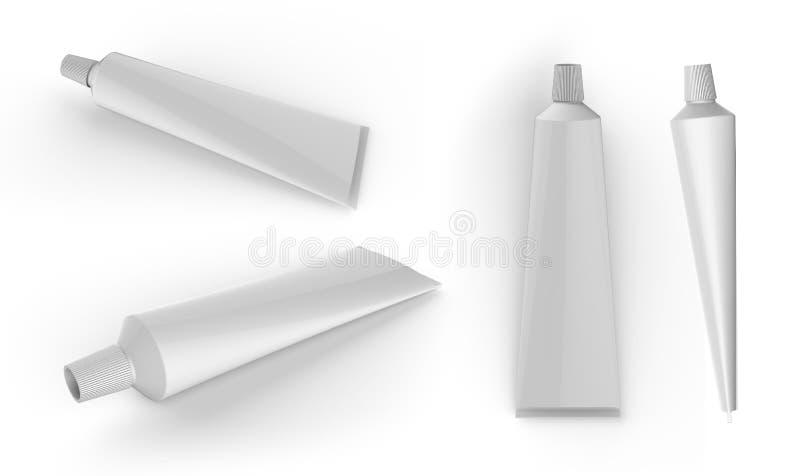 La metropolitana di dentifricio in pasta, la crema o il gel bianco puliscono fotografia stock