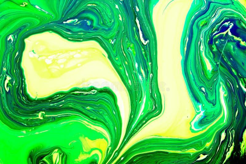 La mezcla de pinturas acrílicas resume arte de mármol líquido del líquido de la textura Fondo profundo del color imagen de archivo