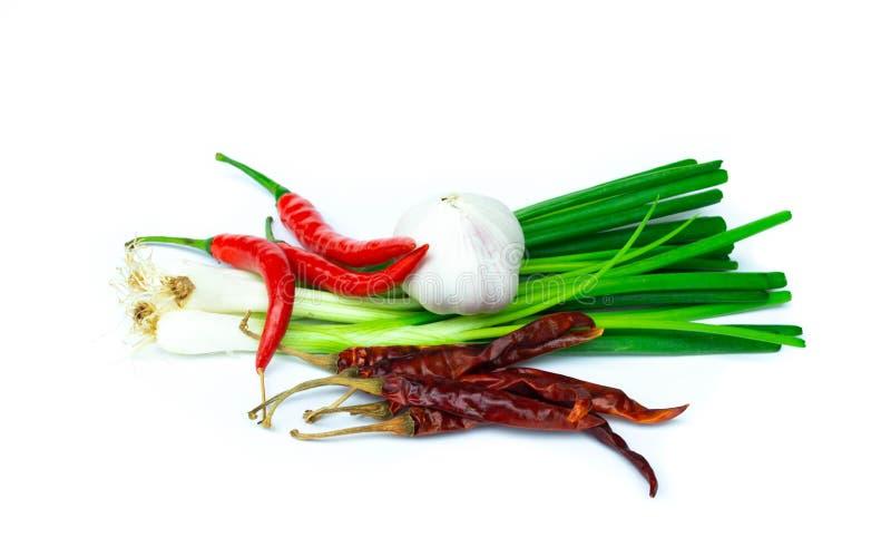 La mezcla ingredien la cebolla, pimienta de chile, ajo aislado en el backg blanco fotografía de archivo libre de regalías