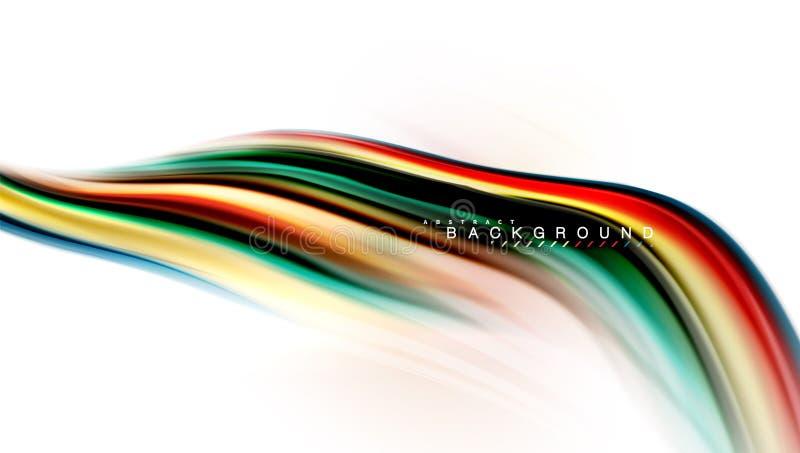 La mezcla líquida flúida colorea concepto en la línea gris clara del fondo, de la onda y de flujo de la curva del remolino, dispo stock de ilustración