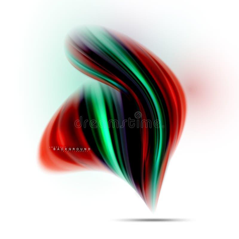 La mezcla líquida flúida colorea concepto en la línea gris clara del fondo, de la onda y de flujo de la curva del remolino, dispo ilustración del vector