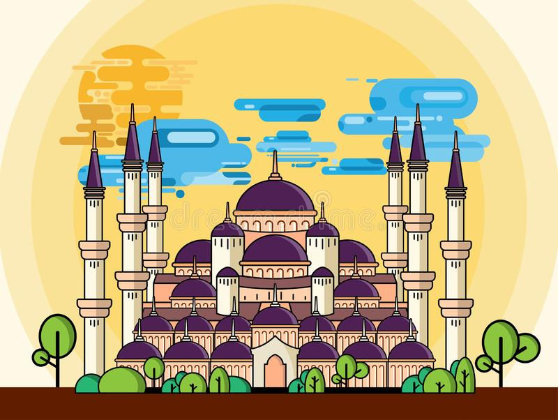 La mezquita azul de Sultan Ahmad tiene un concepto de diseño plano ilustración del vector
