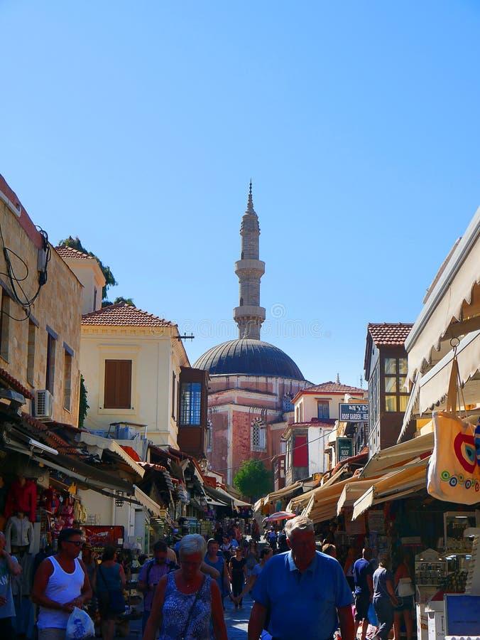 la mezquita de Sulieman en la ciudad vieja de Rodas fotos de archivo libres de regalías