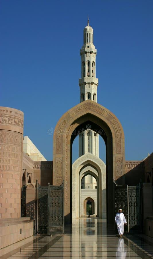 Entranc a la mezquita de los qaboos del sultán foto de archivo