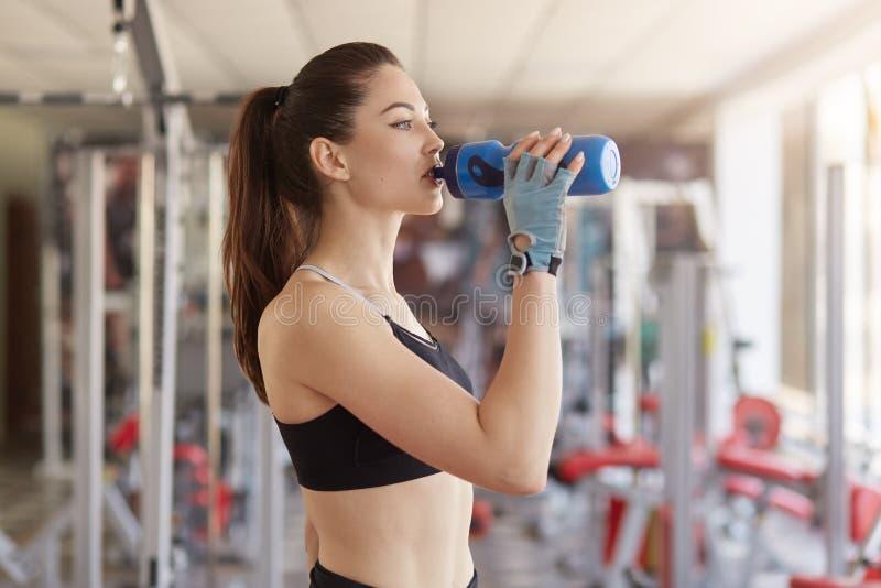 La mezza lunghezza sparata dell'acqua potabile della donna atletica assetata alla palestra dopo avere risolto, ha forma perfetta  immagini stock libere da diritti