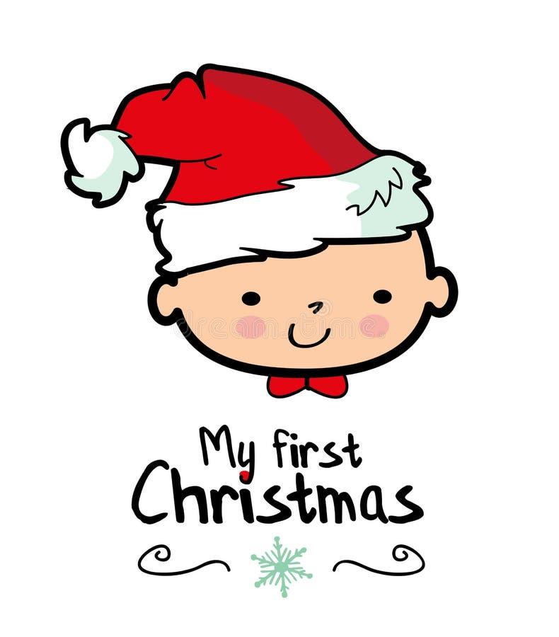 La mi primera Navidad /Baby que lleva el sombrero del ` s de Papá Noel ilustración del vector