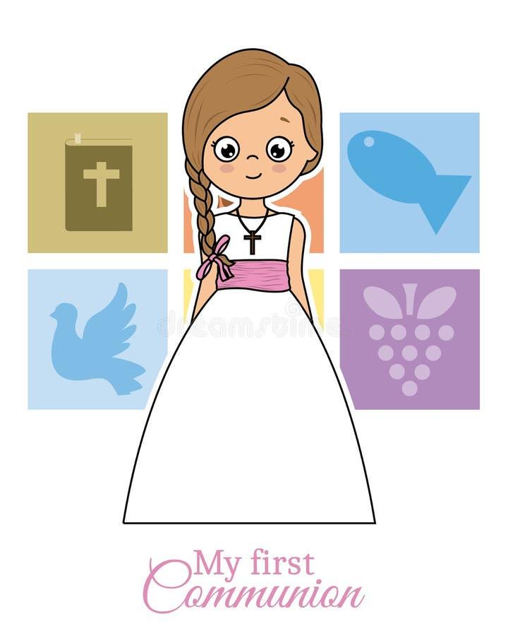 La mia prima carta di comunione royalty illustrazione gratis