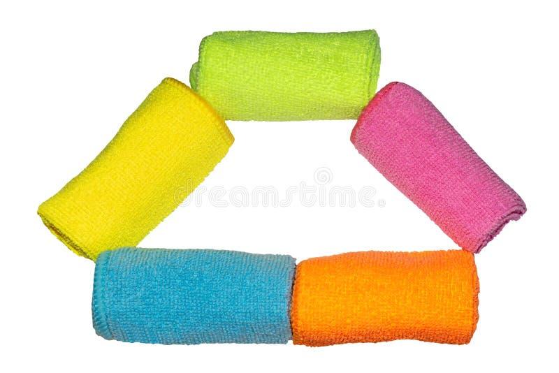 La microfibra colorida de los paños aisló imagen de archivo libre de regalías