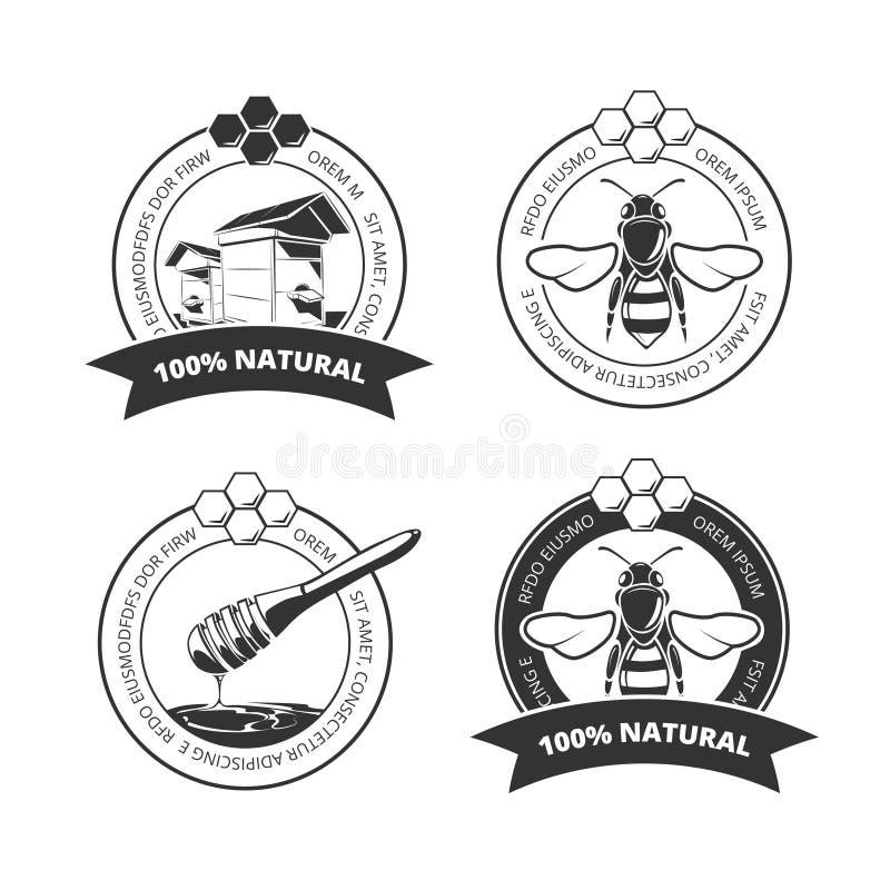 La miel y la abeja del vintage vector las etiquetas, insignias, emblemas, logotipos fijados libre illustration