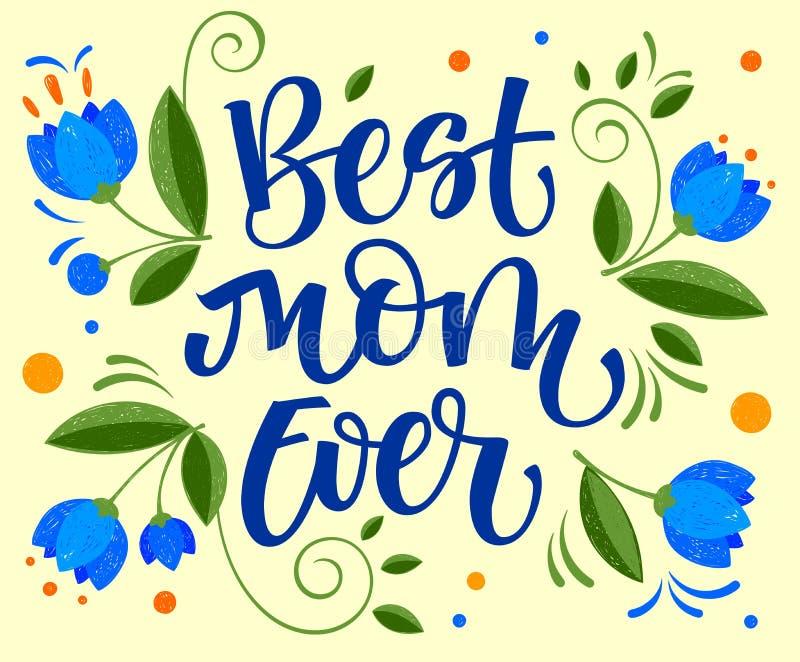 La migliore mano della mamma scrive mai la calligrafia semplice isolata royalty illustrazione gratis