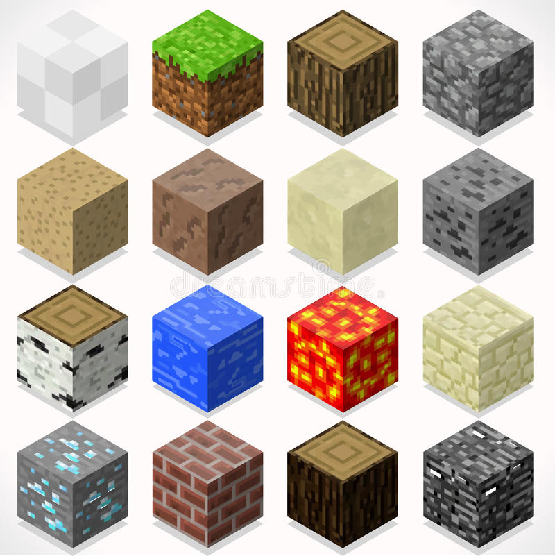 La mina cubica 04 elementos isométricos libre illustration