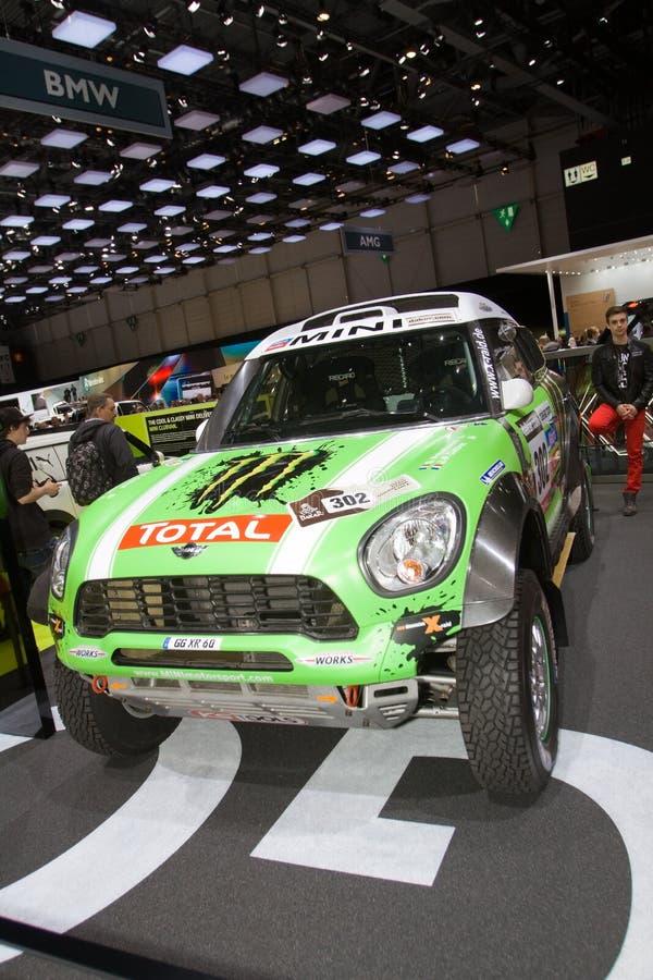 MINI ALL4 che corre il vincitore 2013 - salone dell'automobile di Ginevra 2013 di Dakar fotografia stock