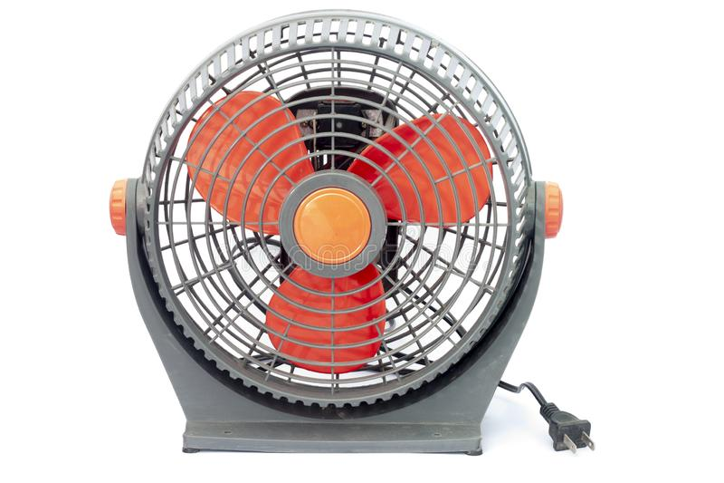 La mini fan gris y roja es sucia y polvo imagenes de archivo