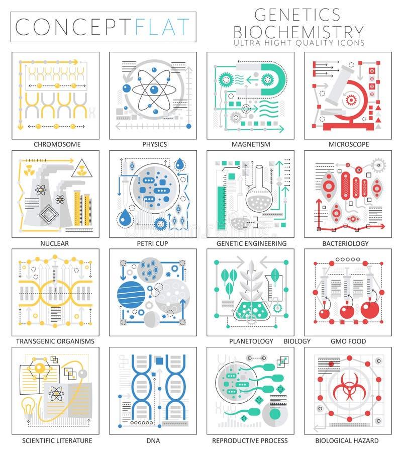 La mini genetica di concetto di Infographics ed icone di biochimica per il web royalty illustrazione gratis