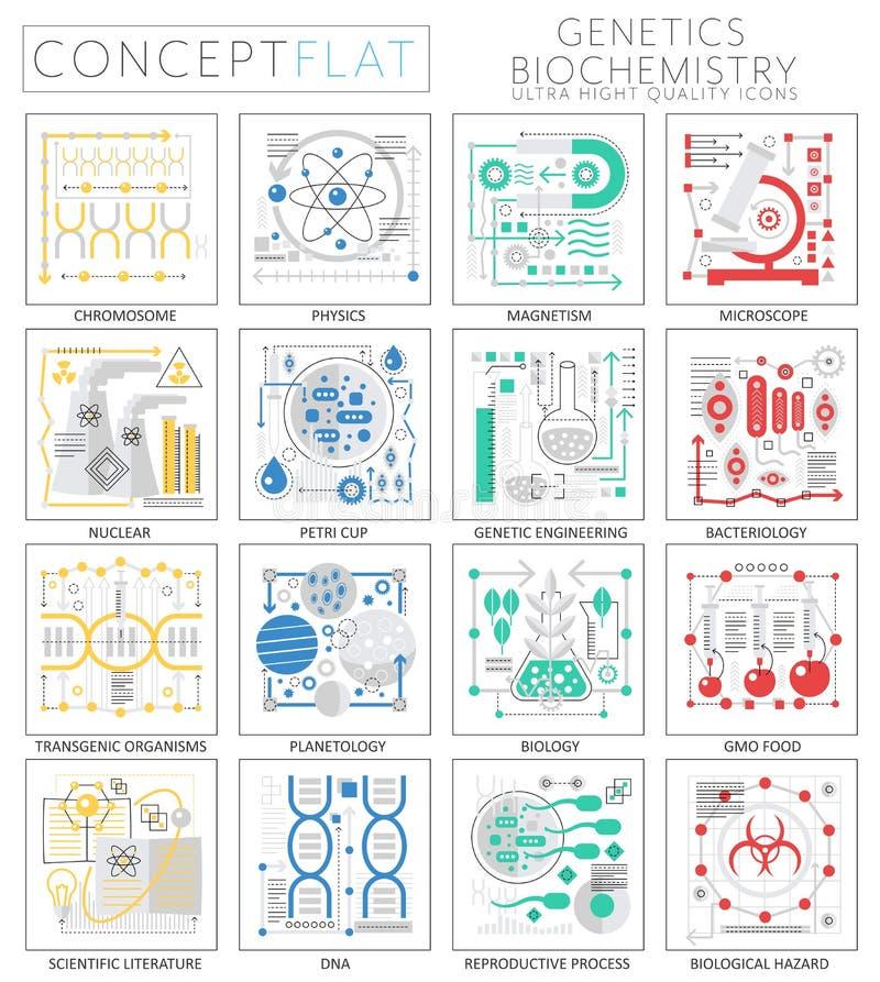 La mini genetica di concetto di Infographics ed icone di biochimica per il web Elementi premio delle icone dei grafici di web di  illustrazione di stock