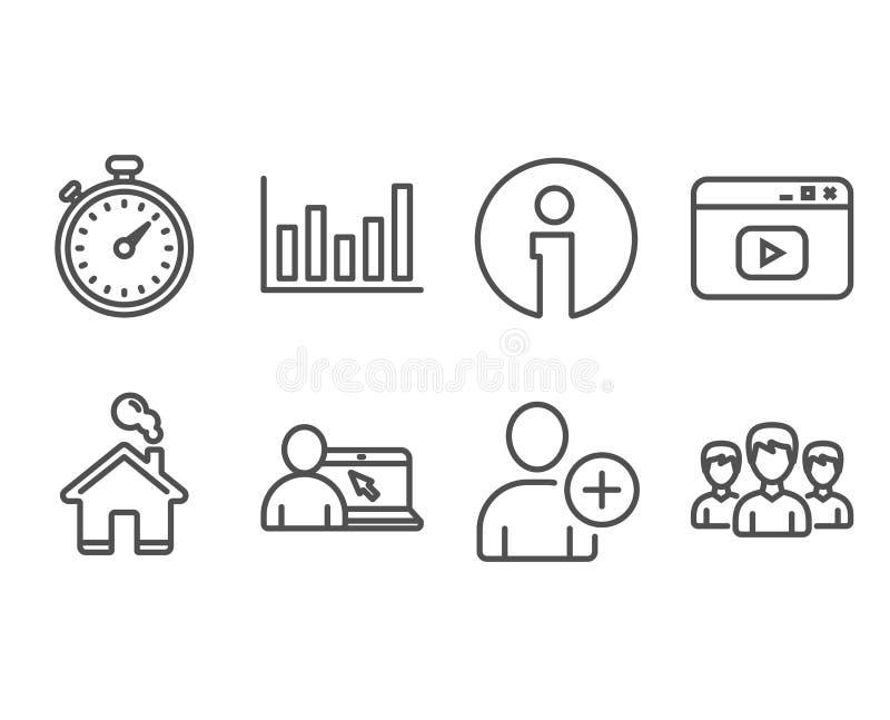 La minuterie, ajoutent l'utilisateur et les icônes satisfaites de vidéo Diagramme de colonne, éducation en ligne et signes de gro illustration libre de droits
