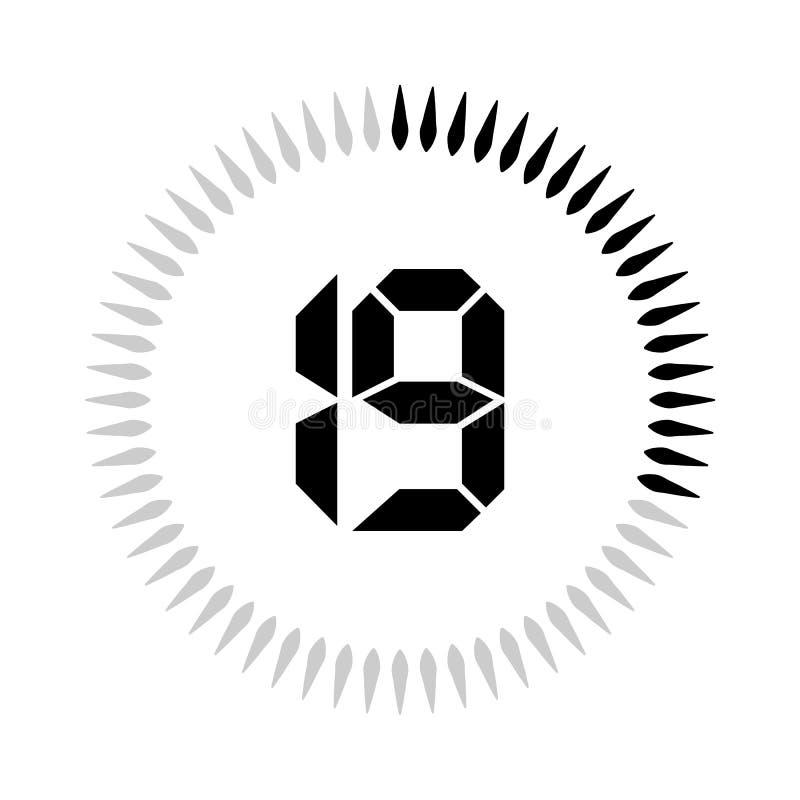 La minuterie de 19 minutes ou de secondes illustration stock