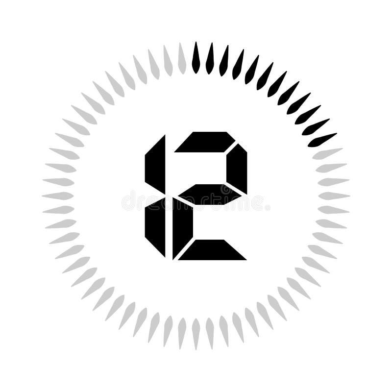 La minuterie de 12 minutes ou de secondes illustration libre de droits