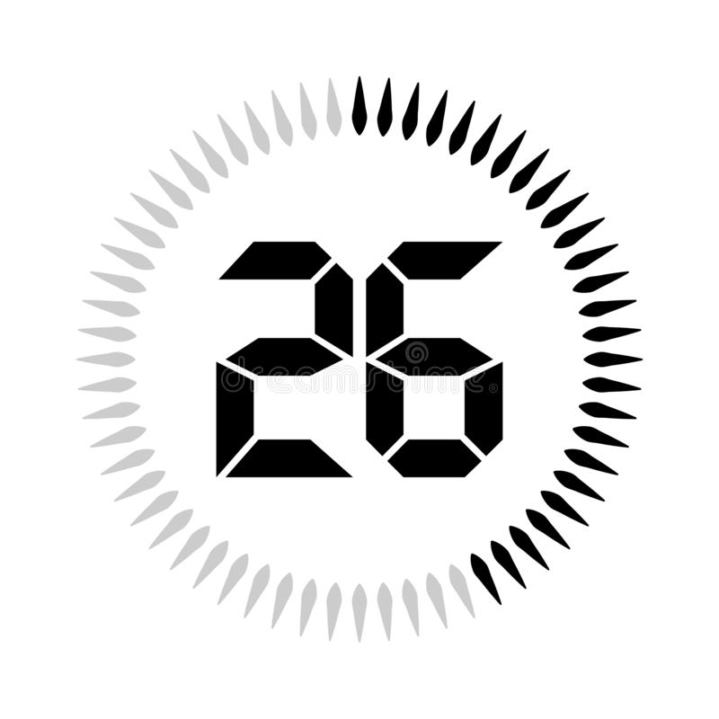 La minuterie de 26 minutes ou de secondes illustration de vecteur