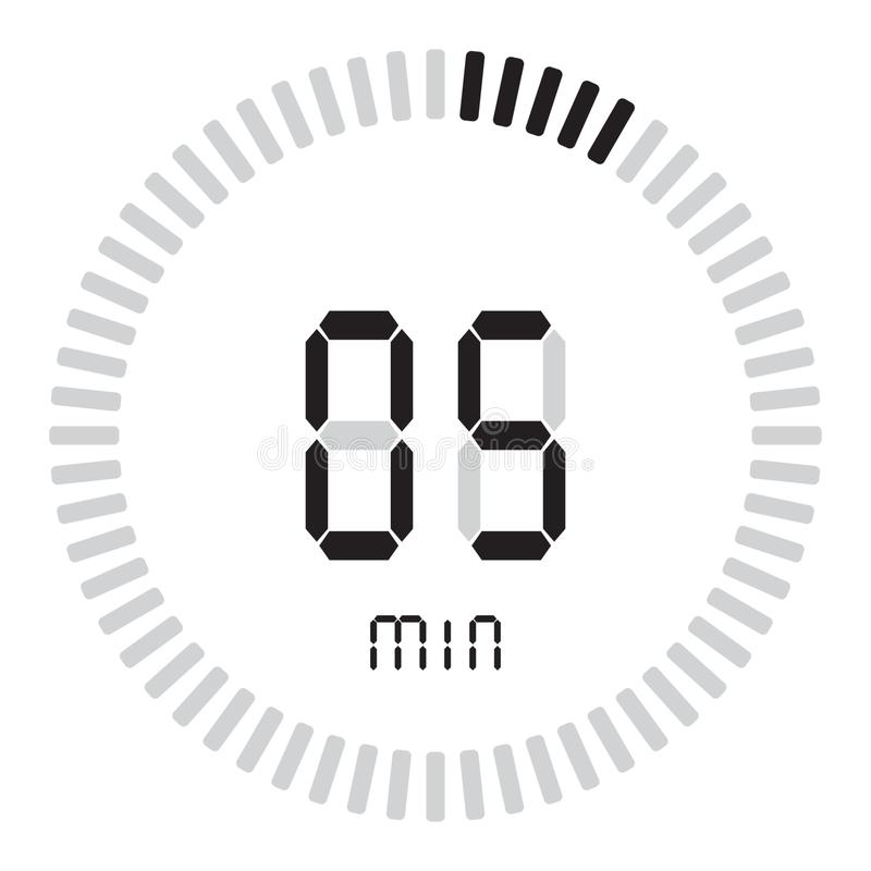 La minuterie numérique 5 minutes chronomètre électronique avec un cadran de gradient mettant en marche l'icône de vecteur, l'horl illustration de vecteur