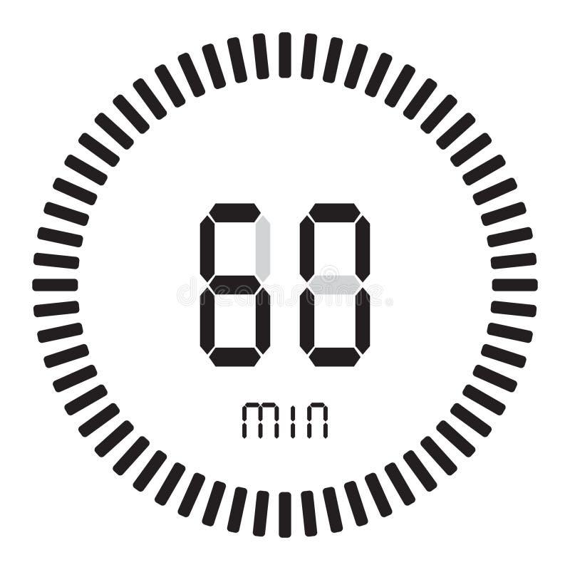 La minuterie numérique 60 minutes, 1 heure chronomètre électronique avec un cadran de gradient mettant en marche l'icône de vecte illustration stock