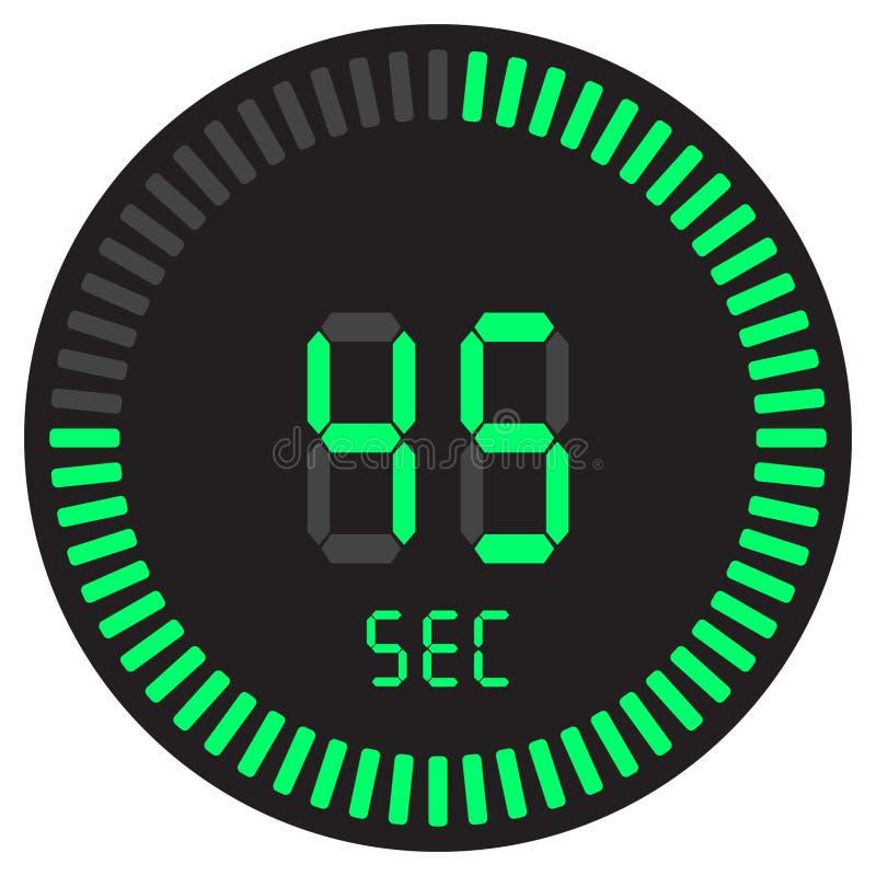 La minuterie numérique 45 secondes chronomètre électronique avec un cadran de gradient mettant en marche l'icône de vecteur, l'ho illustration stock