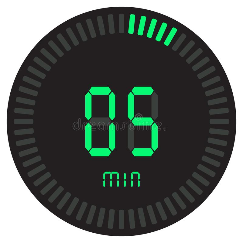 La minuterie numérique verte 5 minutes chronomètre électronique avec un cadran de gradient mettant en marche l'icône de vecteur,  illustration stock