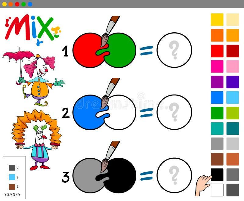 La miscela colora il gioco educativo del fumetto illustrazione di stock