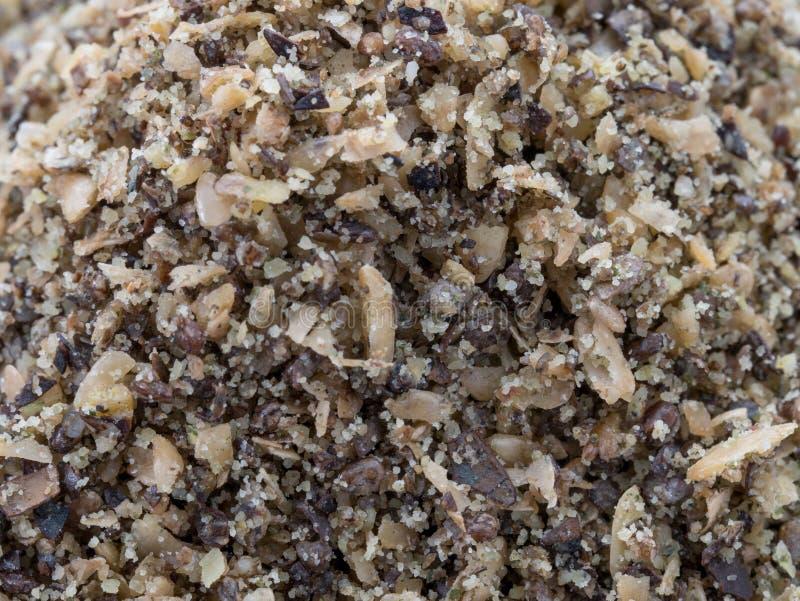 La miscela eccellente del seme del macinato di colden il seme di lino, il seme di canapa ed il seme di chia fotografie stock libere da diritti