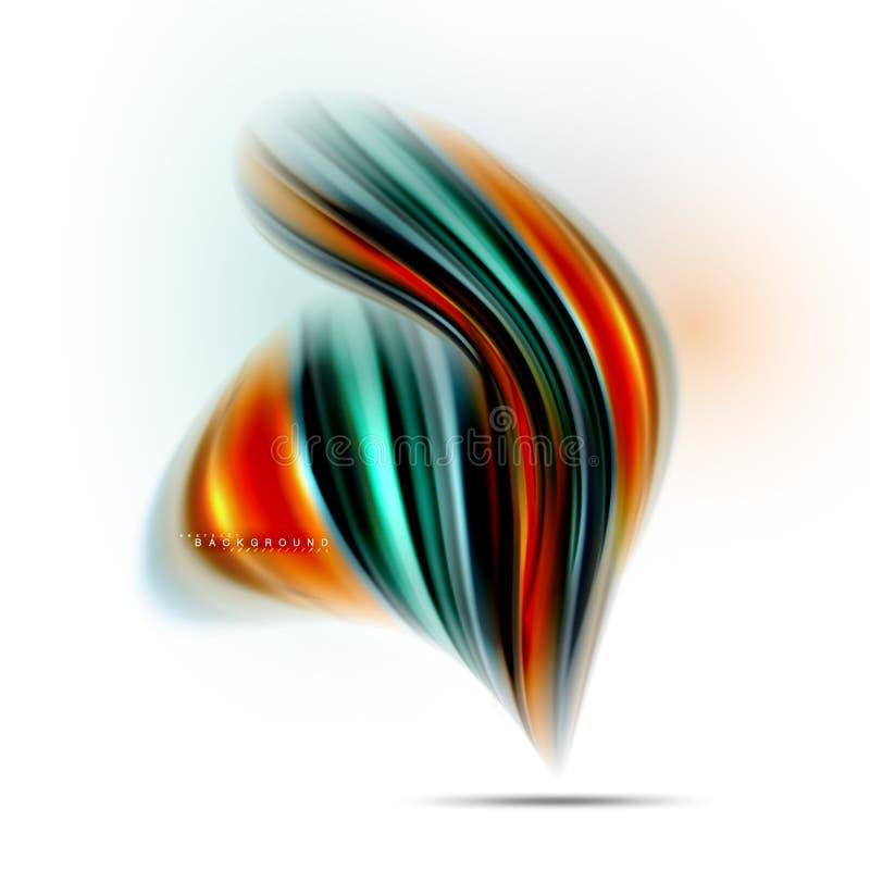 La miscelazione liquida fluida colora il concetto sulla linea grigio chiaro del fondo, dell'onda e di flusso della curva di turbi royalty illustrazione gratis