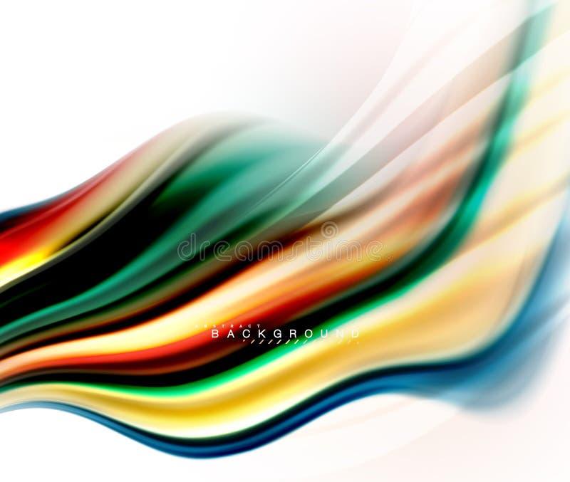 La miscelazione liquida fluida colora il concetto sulla linea grigio chiaro del fondo, dell'onda e di flusso della curva di turbi illustrazione vettoriale