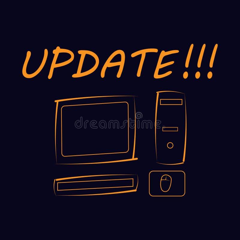 La mise à jour d'inscription ! ! ! sur un fond noir avec une photo d'un ordinateur illustration libre de droits