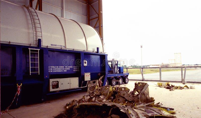 La misión espacial de la unión europea en Kourou, Suramérica: Un transportador enorme para el transbordador espacial imágenes de archivo libres de regalías