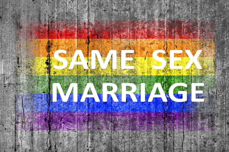 La misma boda del sexo y la bandera de LGBT pintada en fondo texturizan el hormigón gris imagenes de archivo