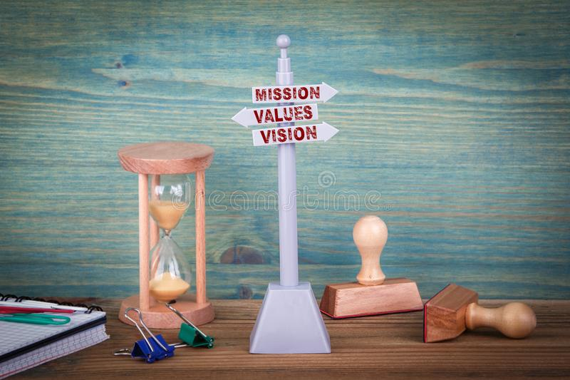 La mission évalue la vision Poteau indicateur sur la table en bois photographie stock