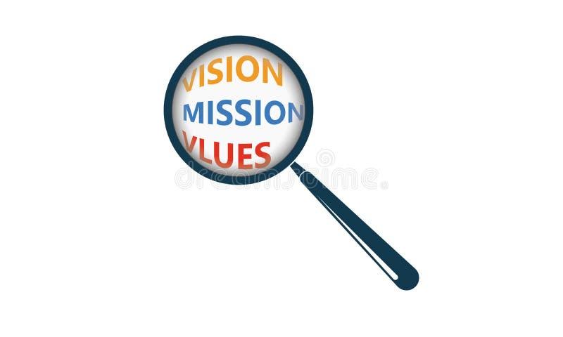 La missione della visione stima il testo e la lente d'ingrandimento illustrazione di stock