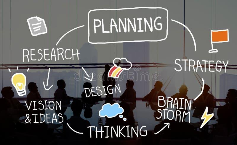 La missione di scopi di ricerca di strategia di pianificazione collega il concetto trattato illustrazione vettoriale
