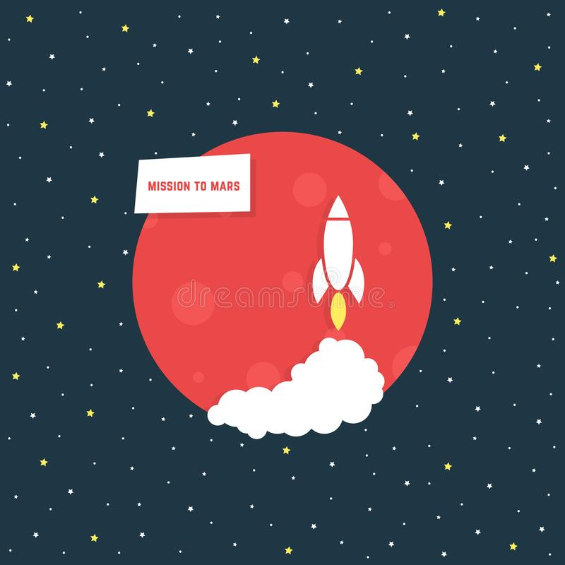 La missione guasta con il pianeta rosso illustrazione di stock