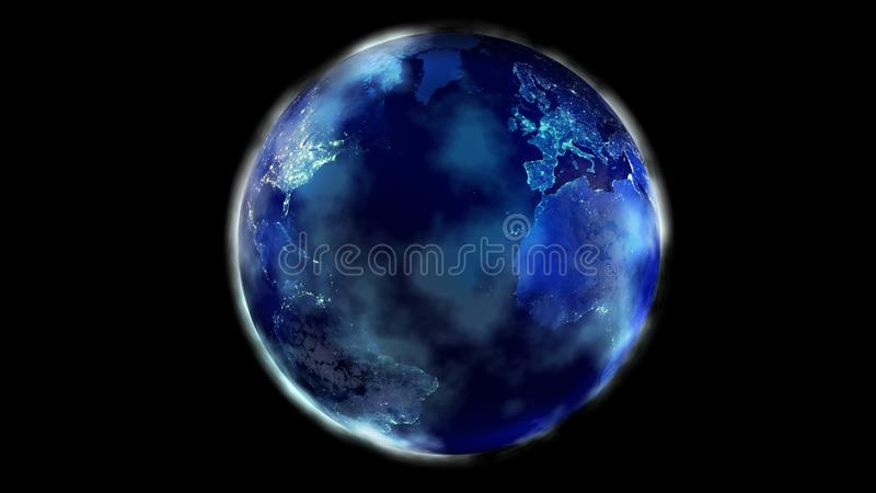 La mitad de la noche de la tierra del norte y Suramérica de la demostración del espacio, Europa y África ilustración del vector
