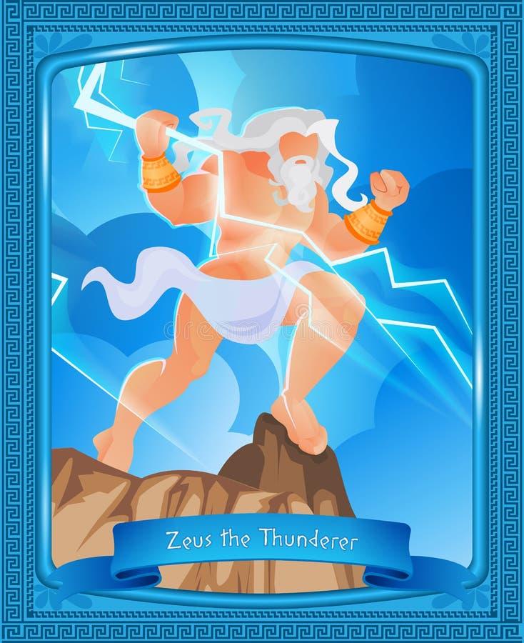 La mitología griega se escribe a Zeus el Thunderer libre illustration