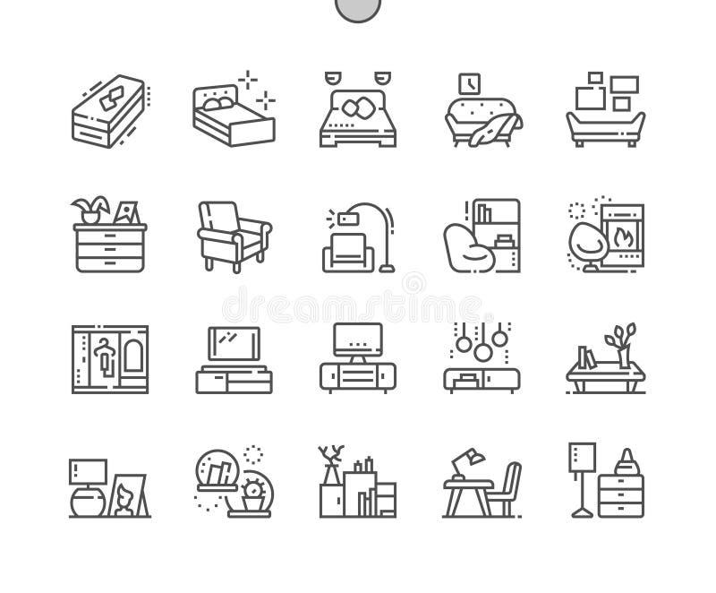 La mobilia Ben-ha elaborato la linea sottile griglia 2x delle icone 30 di vettore perfetto del pixel per i grafici e Apps di web illustrazione di stock