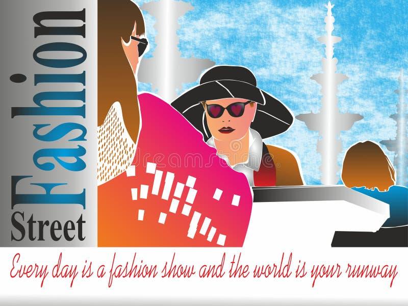 La moda de la calle, cada día es un desfile de moda y el mundo es su pista stock de ilustración