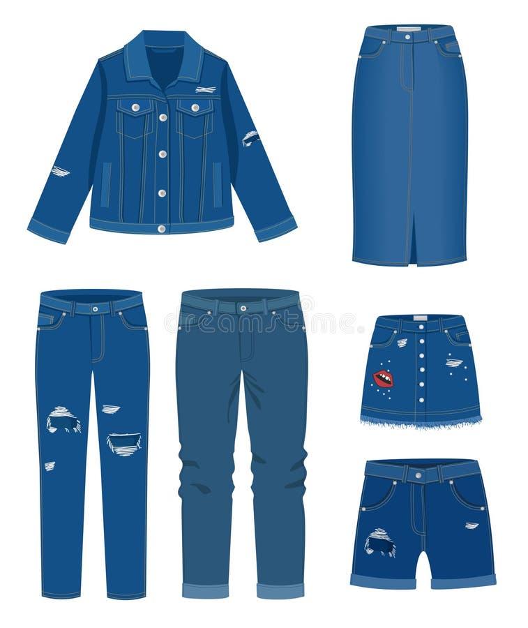 La moda de moda rasgó el ejemplo de la ropa casual del dril de algodón ilustración del vector