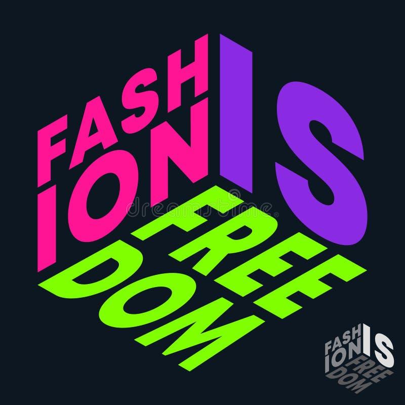 La moda es impresión de la camiseta de la libertad El diseño mínimo para las camisetas applique, lema de moda, insignia, ropa de  stock de ilustración
