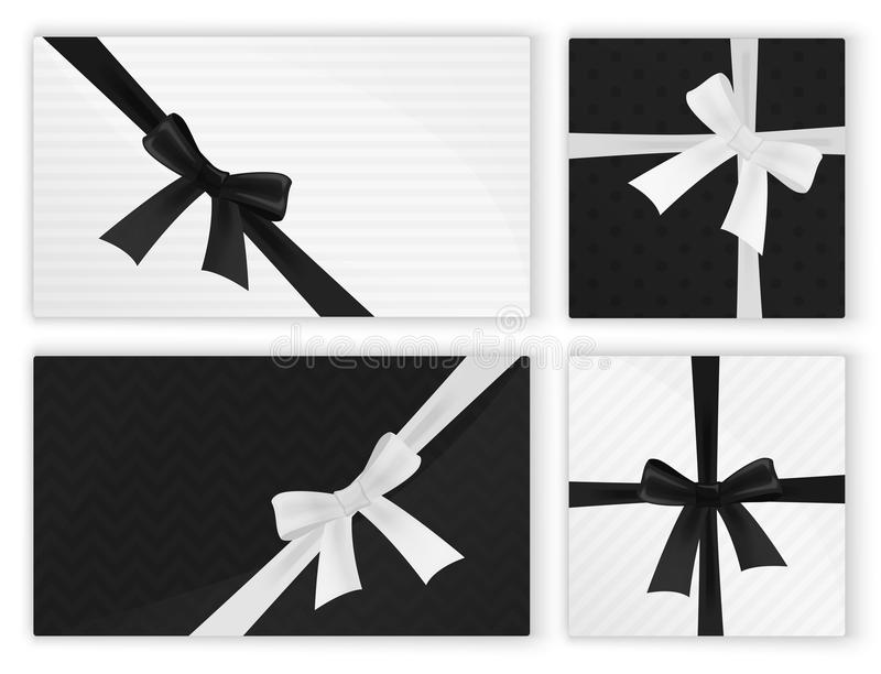 La mode blanche noire a enveloppé le paquet de cadeaux de présents de cadeau Vue supérieure illustration de vecteur