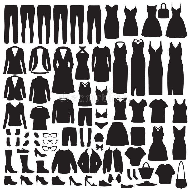 La mode de femmes vêtx la silhouette, robe, chemise, chaussures, jeans, collection de veste illustration stock