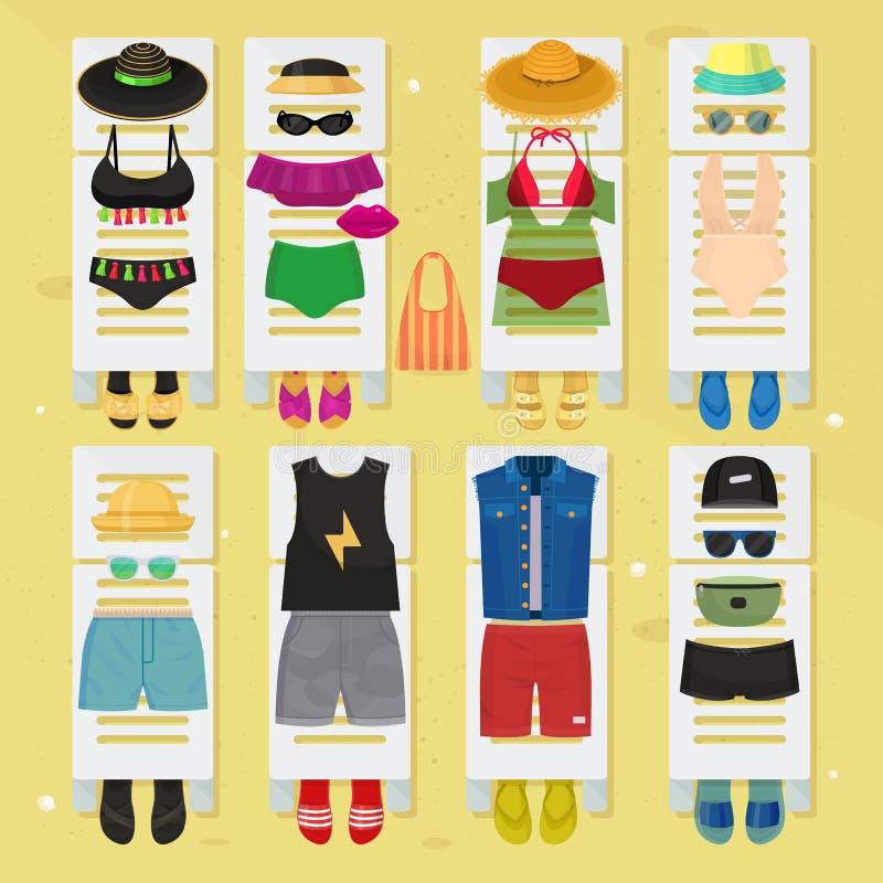 La mode de plage d'heure d'été vêtx l'illustraton de vecteur de conception de regards illustration de vecteur