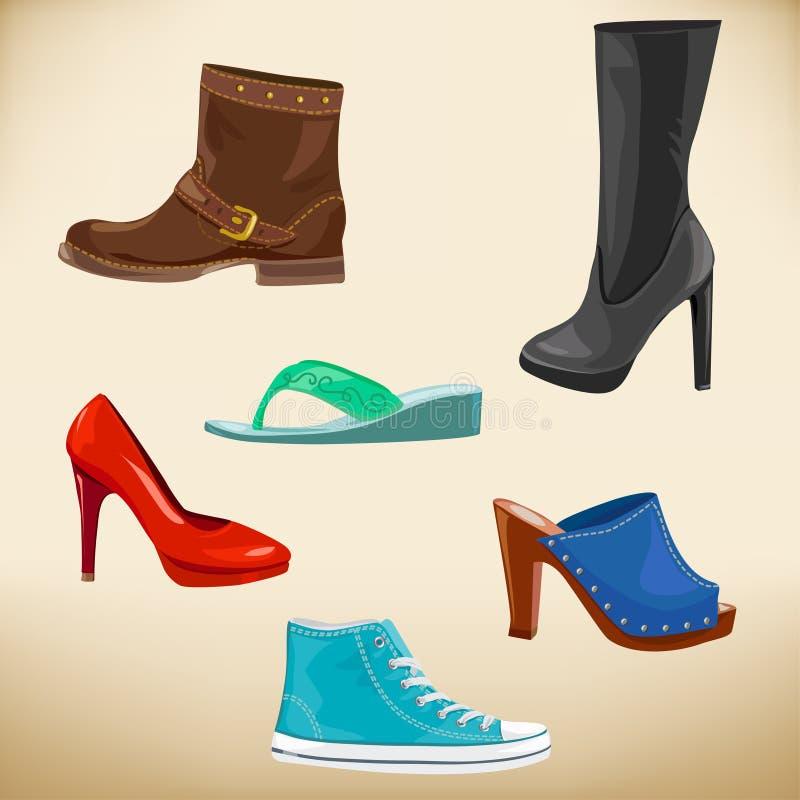 La mode des femmes chausse de divers modèles illustration de vecteur