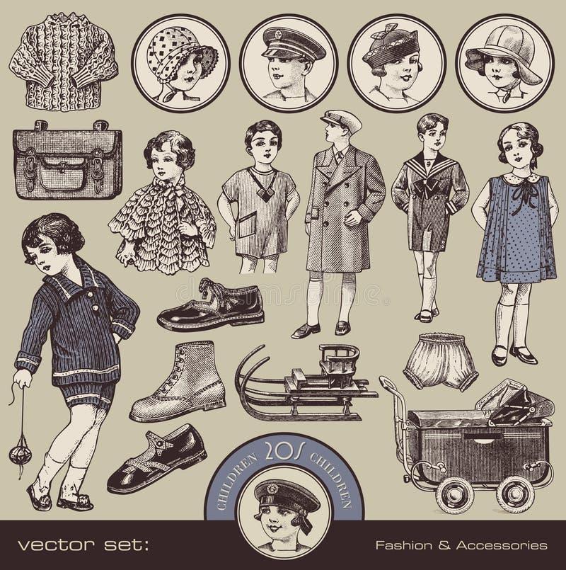 Download La Mode, Les Accessoires Et Les Jouets Des Enfants Illustration de Vecteur - Illustration du fille, garçon: 22145985